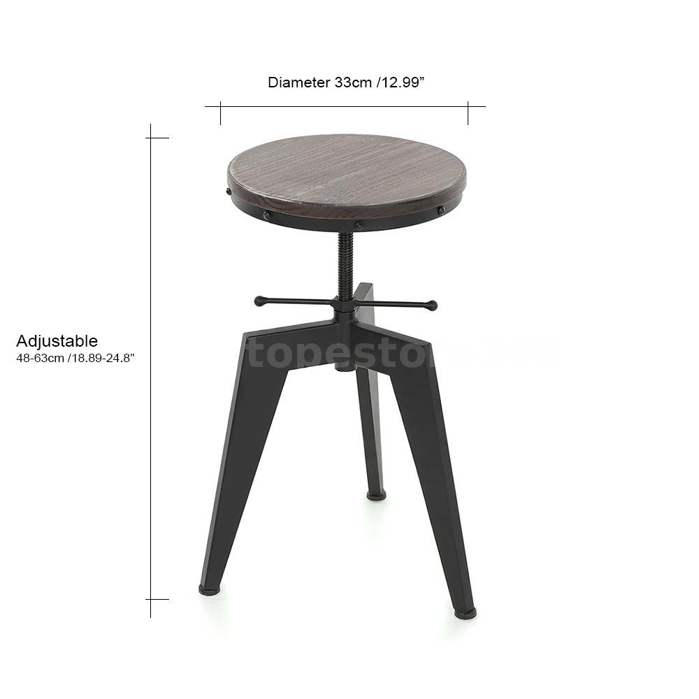 IKAYAA Industrial Bar Stool Natural Pine Wood Top Swivel Height Adjustable C8X0