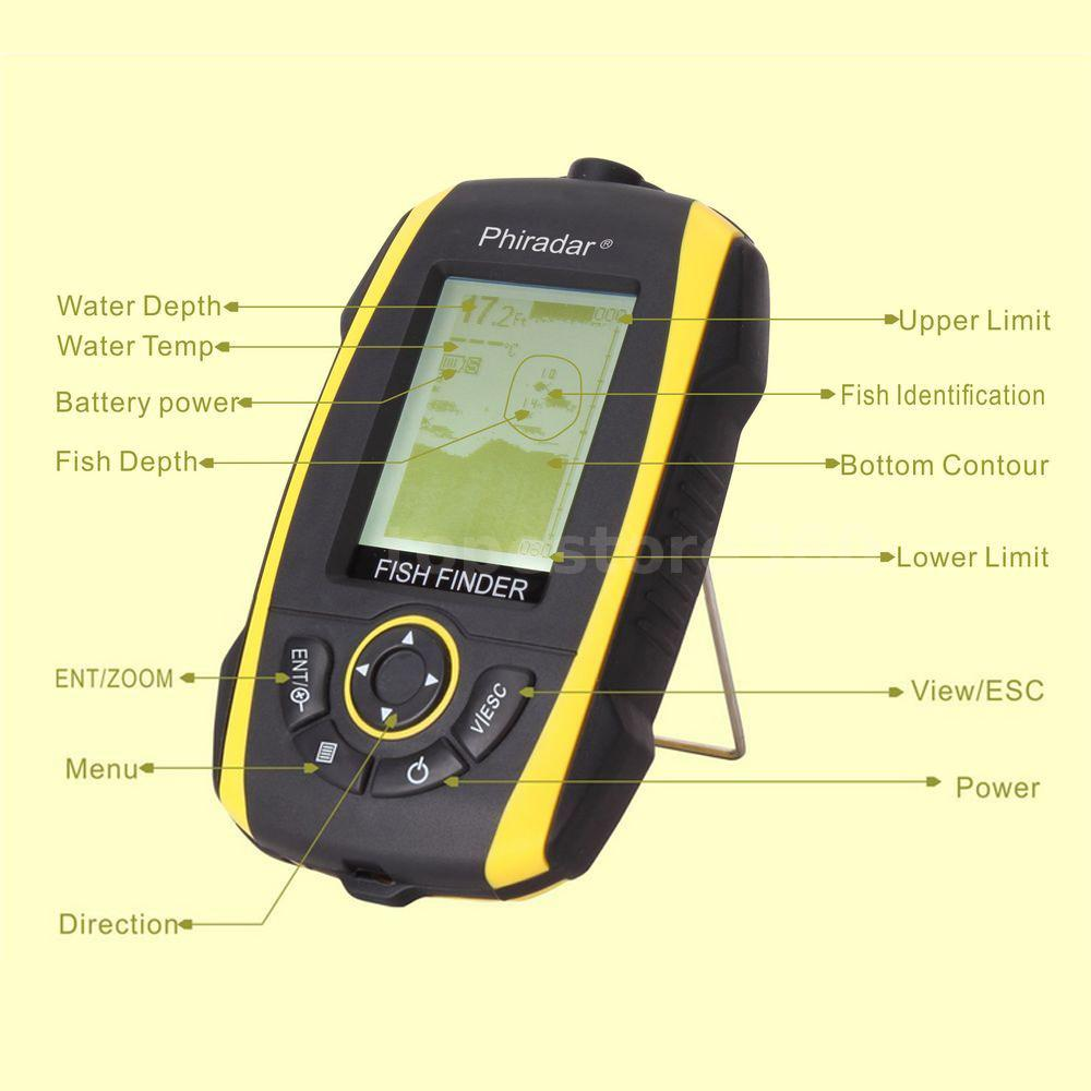 Portable sonar sensor fish finder alarm 72m depth for Fish finder depth finder