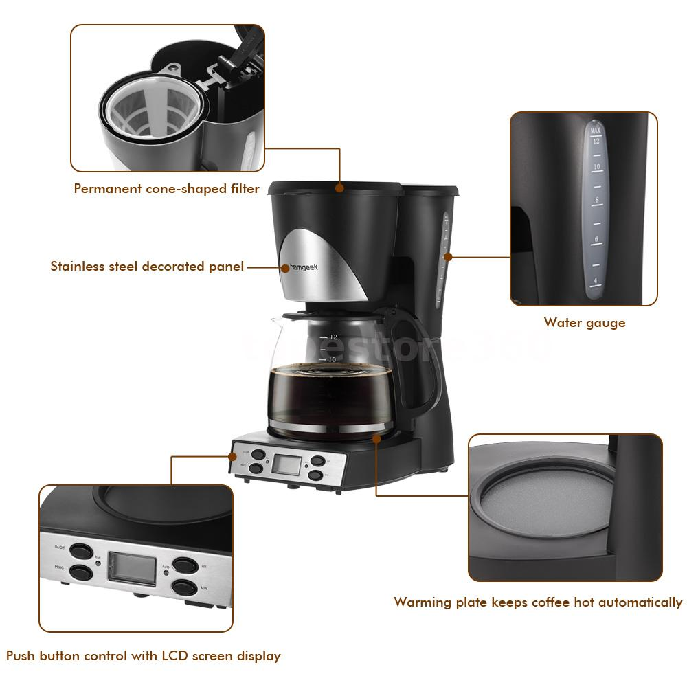 6 Cup Coffee Maker Programmable : Homgeek 1.5L Coffee Maker 12 Cups Programmable Coffeemaker Coffee Machine U4G6 eBay