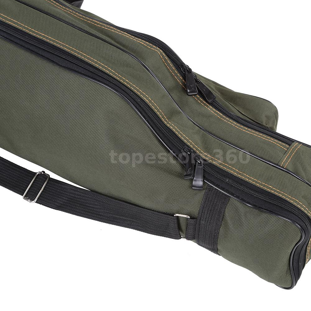 Portable folding fishing rod carrier canvas pole tools for Fishing rod case carrier storage bag